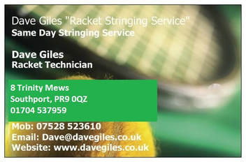 Racket Stringing Service based in Southport, Merseyside, England